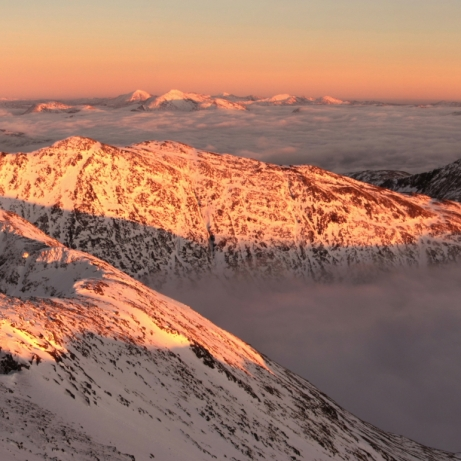 Sunset, east from Ben Cruachan