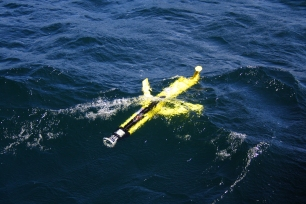 Glider at the surface, waiting to be rescued!