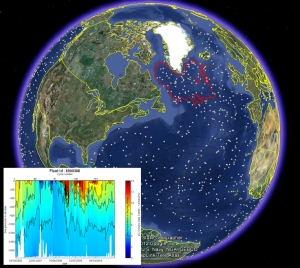 Argo float locations in the North Atlantic on 5th July 2012. The trajectory of one float has been highlighted in red, and its temperature cross-section measured over its 5 year journey is shown. Copyright Google, Argo