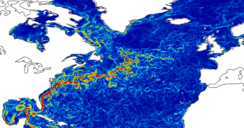 A snapshot of current speeds generated by the Forecasting Ocean Assimilation Model, to which Argo contributes. This illustrates the complexity inherent in ocean physics! The Gulf Stream is the most prominent feature in this image. Copyright Met Office