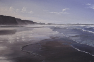 Watergate Bay, Cornwall at low tide. Acrylic on canvas - SOLD