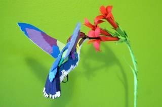 Paper hummingbird sculpture - SOLD