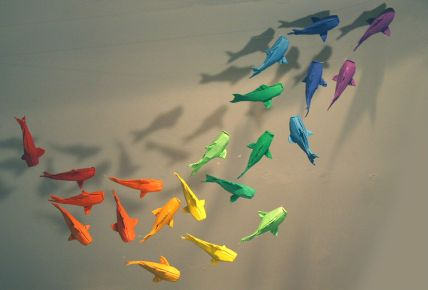Fish origami mobile inspired by the work of Sipho Mabona - SOLD