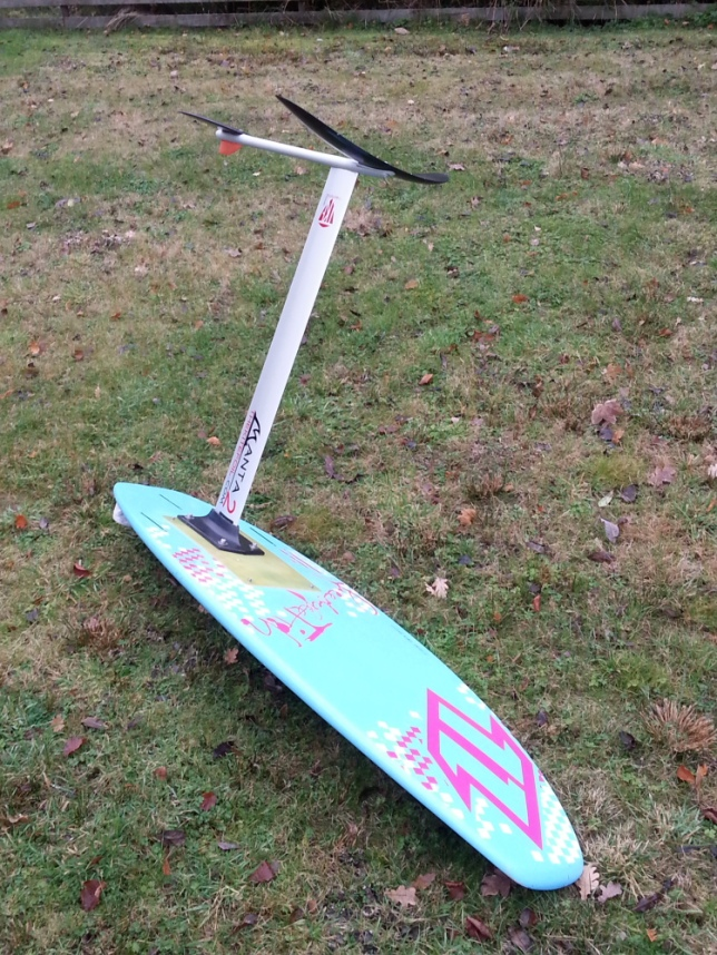 The finished hydrofoil board assembled