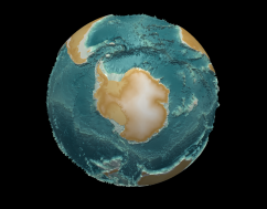 Close-up of Antarctica and Southern Ocean